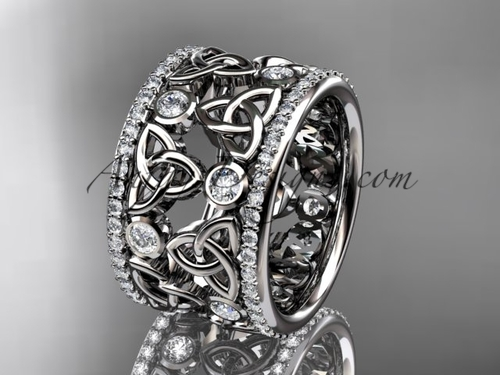 14kt white gold diamond celtic trinity knot  wedding band, bridal ring CT7232B