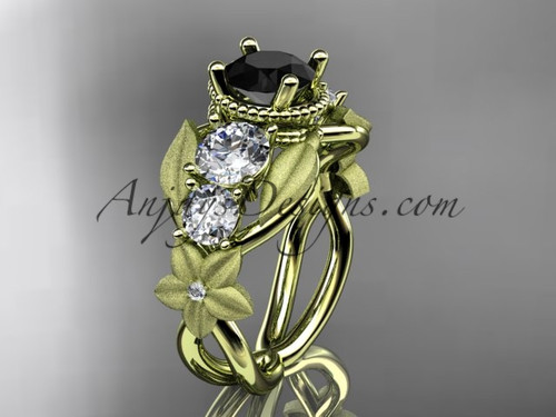 14kt yellow gold diamond floral, leaf and vine wedding ring, engagement ring with  Black Diamond center stone ADLR69