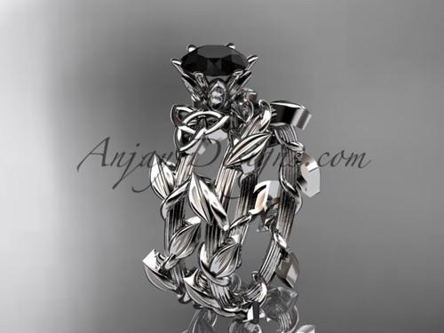 platinum diamond celtic trinity knot wedding ring, engagement ring with a Black Diamond center stone CT7248S