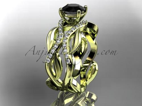 14kt yellow gold diamond leaf and vine wedding set, engagement set with a Black Diamond center stone ADLR264S