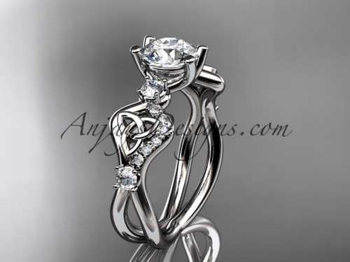 14kt white gold celtic trinity knot engagement ring, wedding ring CT768