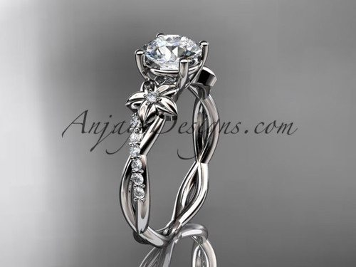 "14kt white gold flower diamond  wedding ring, engagement ring with a ""Forever One"" Moissanite center stone ADLR388"