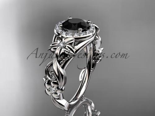 Platinum diamond unique engagement ring, wedding ring with a Black Diamond center stone ADLR300