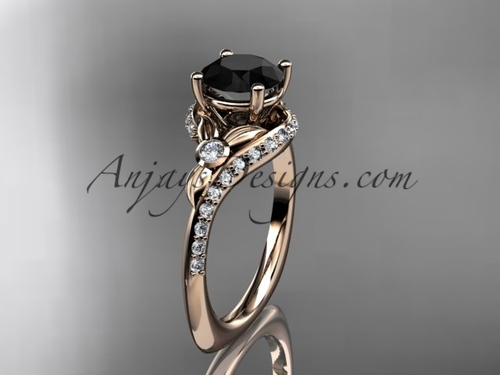 Unique Rose Gold Ring, Flower Engagement Ring, Black Diamond Ring ADLR112