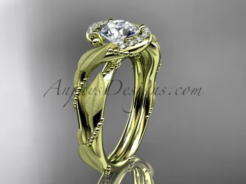 "14kt yellow gold diamond leaf and vine wedding ring, engagement ring with  ""Forever One"" Moissanite center stone ADLR65"