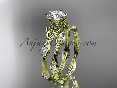 """14kt yellow gold diamond celtic trinity knot wedding ring, engagement set with a """"Forever One"""" Moissanite center stone CT7132S"""