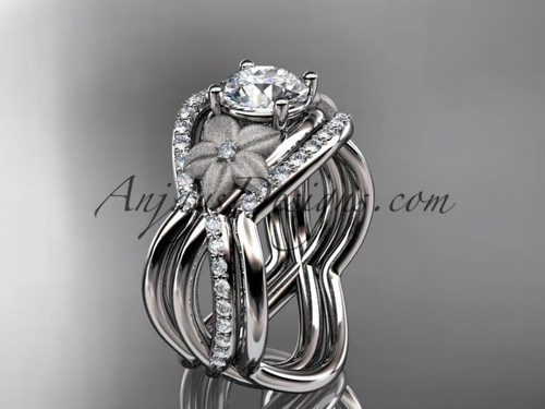 """14kt white gold diamond leaf and vine wedding ring, engagement ring with  """"Forever One"""" Moissanite  center stone and double matching band ADLR90S"""