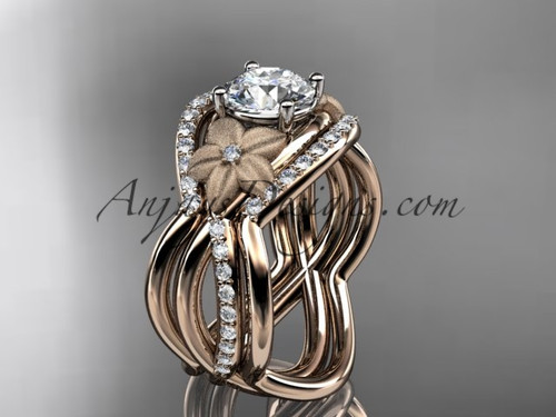 "14kt rose gold diamond leaf and vine wedding ring, engagement ring with  ""Forever One"" Moissanite  center stone and double matching band ADLR90S"