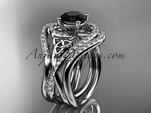 14kt white gold diamond celtic trinity knot wedding ring, engagement ring with a Black Diamond center stone and double matching band CT7320S