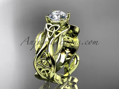 "14kt yellow gold celtic trinity knot wedding ring, engagement ring with a ""Forever One"" Moissanite center stone CT7264"