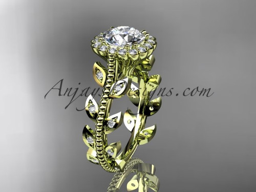 14k yellow gold diamond leaf and vine wedding ring, engagement ring ADLR118