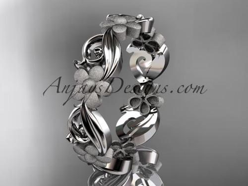 14kt white gold flower wedding ring, engagement ring, wedding band ADLR191G
