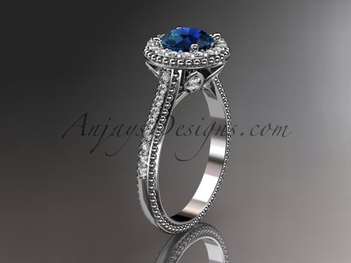 14kt white gold diamond floral wedding ring,engagement ring with blue sapphire center stone ADLR101