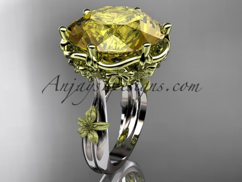 "14kt 2 - tone gold floral, leaf and vine ""Basket of Love\"" ring ADLR176 nature inspired jewelry"