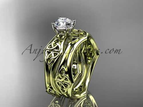 """14kt yellow gold celtic trinity ring,  triquetra ring, engagement  set with a """"Forever One"""" Moissanite center stone CT7356S"""