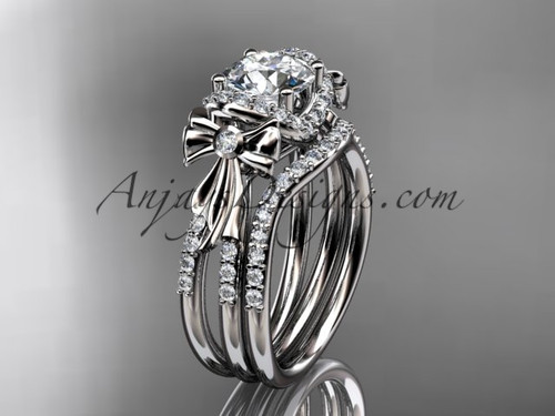 """platinum diamond unique engagement set, wedding ring, bow ring with a """"Forever One"""" Moissanite center stone ADER155S"""