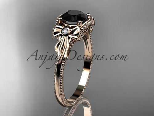 Rose Gold Black Diamond Bow Unique Engagement Ring ADLR376