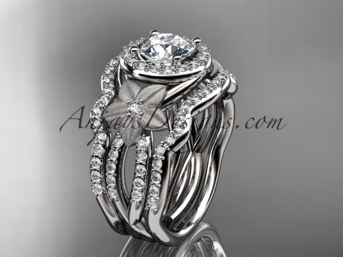 14kt white gold  diamond floral wedding ring, engagement ring with a double matching band ADLR127S