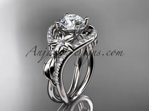 White Gold Moissanite Leaf Engagement Ring ADLR244