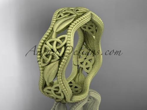 14kt yellow gold celtic trinity knot wedding band, matte finish wedding band, engagement ring CT7190G