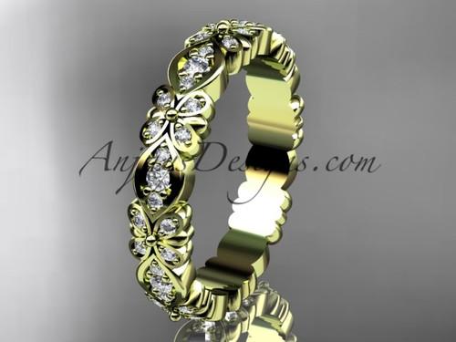 Beautiful Wedding Band, Yellow Gold Bridal Ring ADLR122B