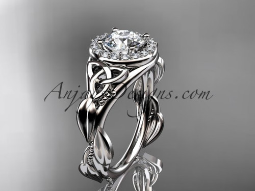 """14kt white gold diamond celtic trinity knot wedding ring, engagement ring with a """"Forever One"""" Moissanite center stone CT7327"""