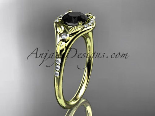 14kt yellow gold diamond floral wedding ring, engagement ring with a Black Diamond center stone ADLR126