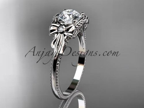 Moissanite Platinum Black Diamond Bow Bridal Ring ADLR376