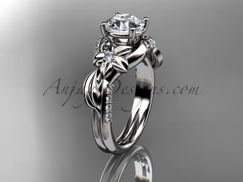 """Unique 14k white gold diamond flower, leaf and vine wedding ring, engagement ring with a """"Forever One"""" Moissanite center stone ADLR224"""