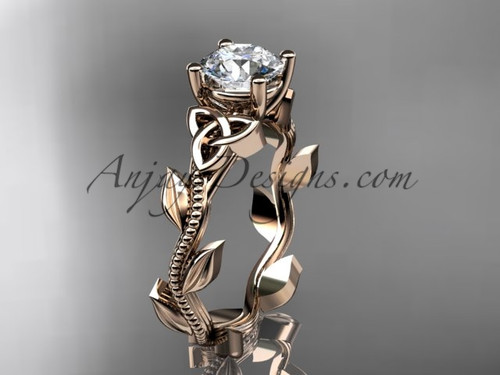 "14kt rose gold celtic trinity knot wedding ring, engagement ring with a ""Forever One"" Moissanite center stone CT7238"