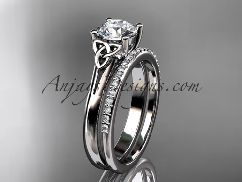 """14kt white gold diamond celtic trinity knot wedding ring, engagement set with a """"Forever One"""" Moissanite center stone CT7154S"""