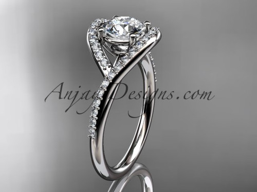 """14kt white gold diamond wedding ring, engagement ring with a """"Forever One"""" Moissanite center stone ADLR383"""