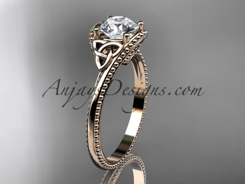 "14kt rose gold celtic trinity knot wedding ring, engagement ring with a ""Forever One"" Moissanite center stone CT7322"
