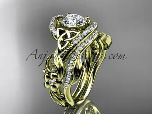 """14kt yellow gold diamond celtic trinity knot wedding ring, engagement set with a """"Forever One"""" Moissanite center stone CT7211S"""