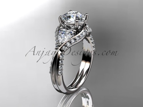 """Unique 14kt white gold diamond wedding ring, engagement ring with a """"Forever One"""" Moissanite center stone ADLR319"""