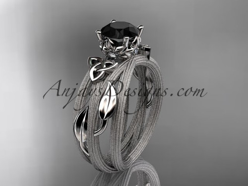 platinum diamond celtic trinity knot wedding ring, engagement ring with a Black Diamond center stone CT7253