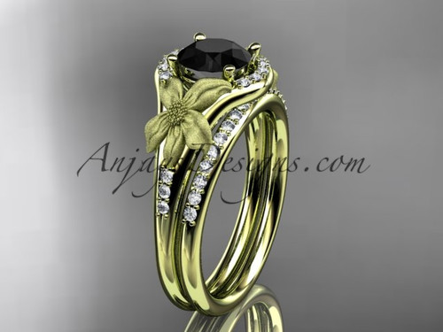 14kt yellow gold diamond leaf and vine wedding ring, engagement set with a Black Diamond center stone ADLR91S