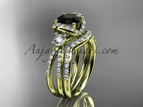 14kt yellow gold diamond unique engagement set, wedding ring with a Black Diamond center stone ADER146S