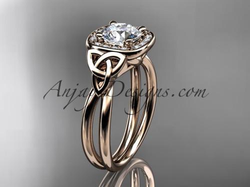 14kt rose gold moissanite celtic engagement ring CT7330