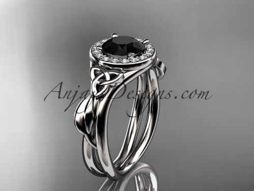 14kt white gold diamond celtic trinity knot wedding ring, engagement ring with a Black Diamond center stone CT7314