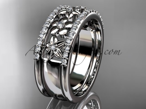 platinum engagement ring, flower wedding band ADLR406B