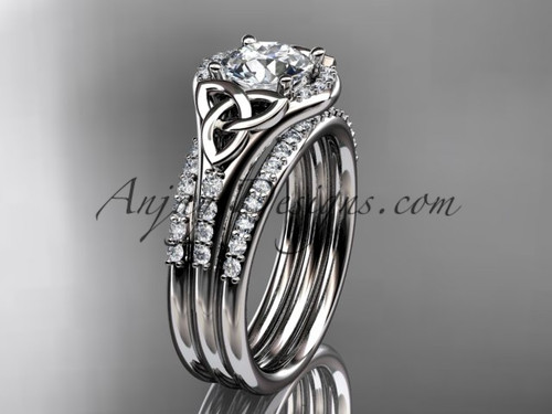 """14kt white gold diamond celtic trinity knot wedding ring, engagement ring with a """"Forever One"""" Moissanite center stone and double matching band CT7126S"""