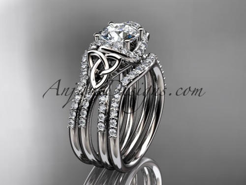 """14kt white gold diamond celtic trinity knot wedding ring, engagement ring with a """"Forever One"""" Moissanite center stone and double matching band CT7155S"""