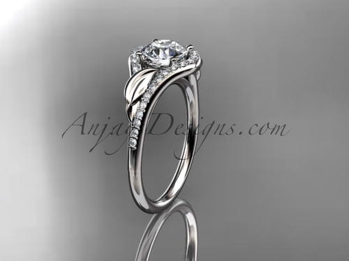 Platinum Modern Diamond Marriage Ring, Leaf Wedding Ring ADLR334