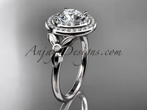 14kt white gold diamond floral wedding ring, engagement ring ADLR133