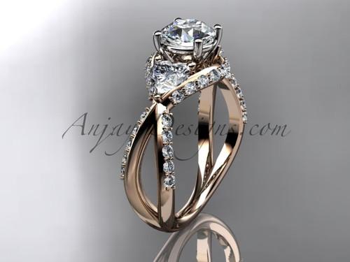 Unique 14kt rose gold diamond wedding ring, engagement ring ADLR318