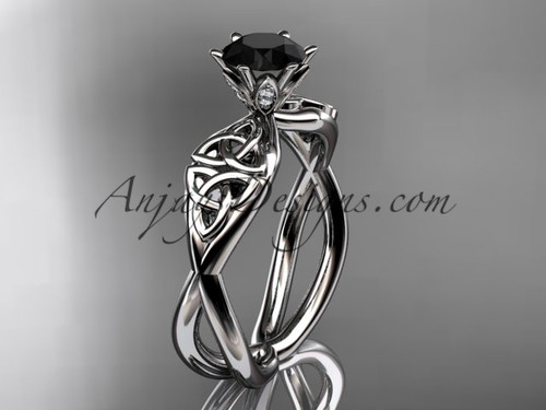 14kt white gold diamond celtic trinity knot wedding ring, engagement ring with a Black Diamond center stone CT7221