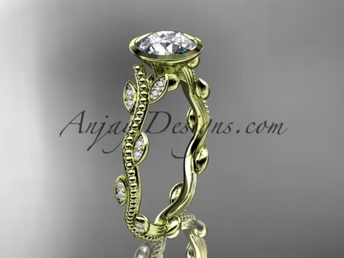"14k yellow gold diamond leaf and vine wedding ring, engagement ring with  ""Forever One"" Moissanite center stone ADLR33"
