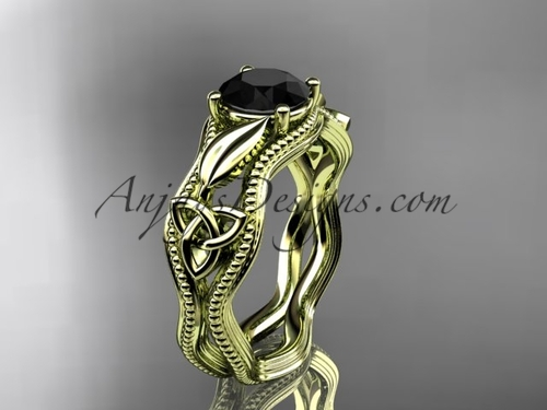 Celtic Bridal Ring, Rose Gold Black Diamond Ring CT7382