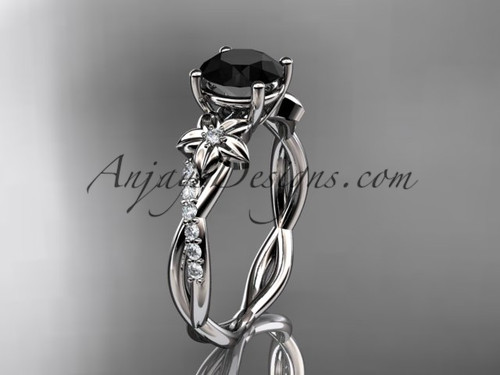 14kt white gold flower diamond  wedding ring, engagement ring with a Black Diamond center stone ADLR388